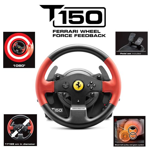 volant thrustmaster t150 ferrari pc ps4 ps3 ps4. Black Bedroom Furniture Sets. Home Design Ideas