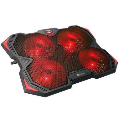 Chladící podložka C-TECH Zefyros (GCP-01R), casual gaming, 17,3, červené podsvícení, regulace otáček (PC)