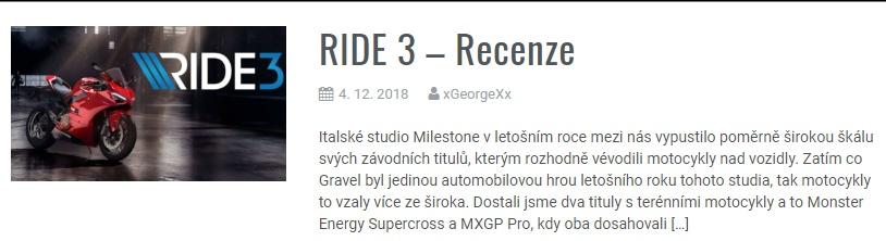 RIDE 3 - Recenze