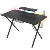 Genesis Holm 300, RGB LED, černý, NDS-1550 - herní stůl s RGB podsvícením, 3xUSB 3.0