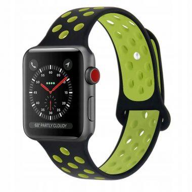Gumový pásek / řemínek pro Apple Watch (42/44mm) Tech-Protect SOFTBAND - Černá/limetková