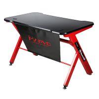 Marvo DE-03 herní stůl, černý/červený, podsvícený