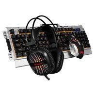 Marvo CM303 CZ, Sada klávesnice s herní myší a sluchátky, membránová, USB, stříbrná, podsvícená (PC)