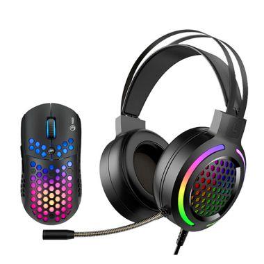 Marvo Sada myši a sluchátek MH01BK, 6400DPI, optická, 6tl., 1 kolečko, drátová USB, černá (PC)