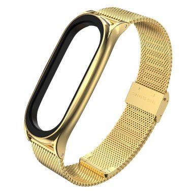 Náhradní náramek Xiaomi Mi Band 5/6 - Kovový jemný Zlatý