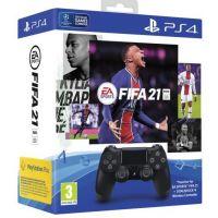 Sony Dualshock 4 Controller V2 Black + FIFA 21 (PS4)