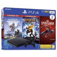 SONY PlayStation 4 Slim 500GB + Spider-Man, Horizon Zero Dawn, Ratchet & Clank (PS4)