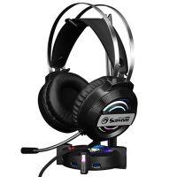 Stojan na sluchátka Marvo HZ-04, černý,  podsvícený, 4x USB 3.0 (PC)